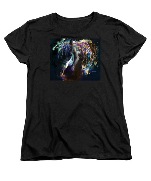 Women's T-Shirt (Standard Cut) featuring the painting Night Stallion by Sherry Shipley