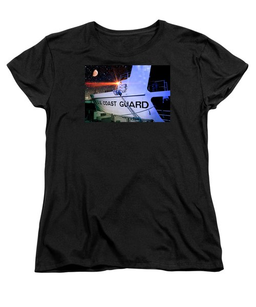 Ocean Women's T-Shirt (Standard Cut) featuring the photograph Night Watch Us Coast Guard by Aaron Berg