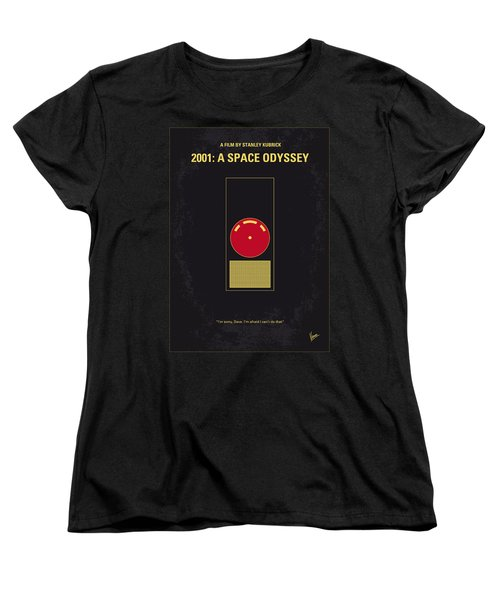 No003 My 2001 A Space Odyssey 2000 Minimal Movie Poster Women's T-Shirt (Standard Cut)