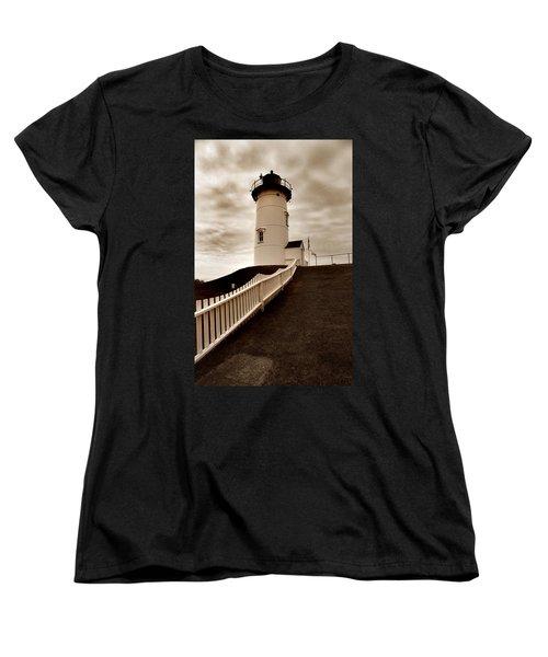 Nobska Lighthouse Women's T-Shirt (Standard Cut) by Skip Willits
