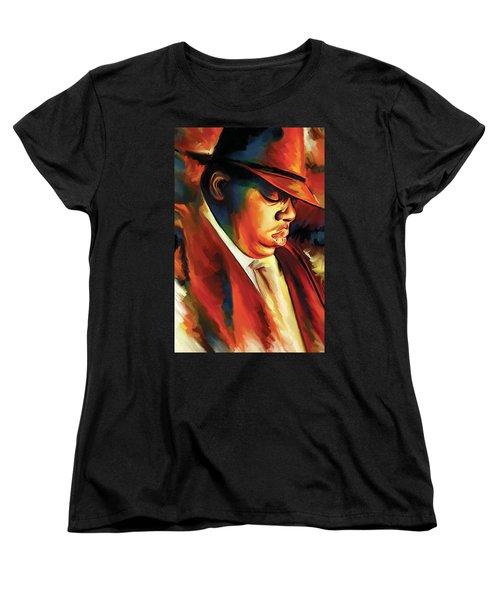 Notorious Big - Biggie Smalls Artwork Women's T-Shirt (Standard Cut) by Sheraz A