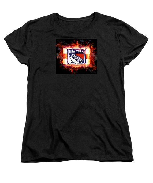 Women's T-Shirt (Standard Cut) featuring the digital art Ny Rangers Are Hot by Nina Bradica