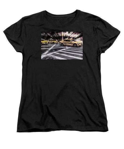 Nyc Yellow Cab On 5th Street - White Women's T-Shirt (Standard Cut) by Hannes Cmarits