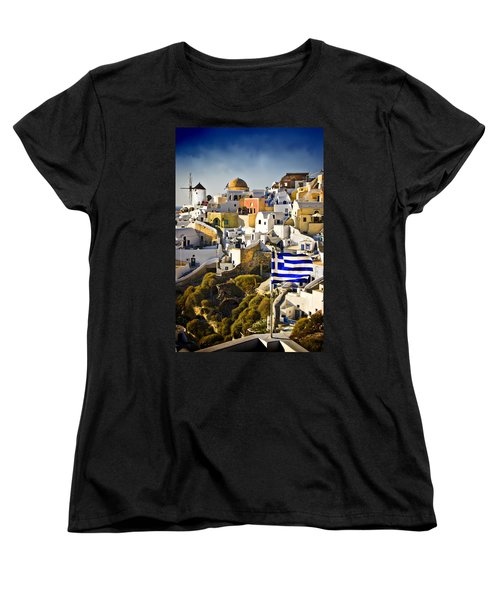 Oia And A Greek Flag Women's T-Shirt (Standard Cut) by Meirion Matthias