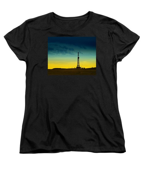 Oil Rig In The Spring Women's T-Shirt (Standard Cut) by Jeff Swan