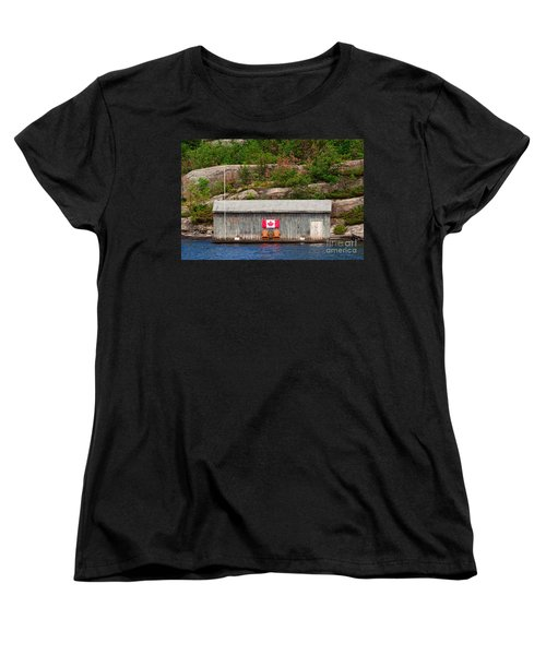 Old Boathouse With Two Muskoka Chairs Women's T-Shirt (Standard Cut) by Les Palenik