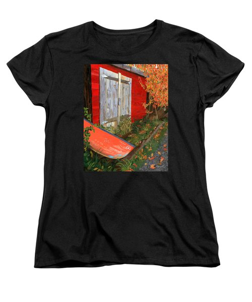 Women's T-Shirt (Standard Cut) featuring the painting Old Canoe by Lynne Reichhart