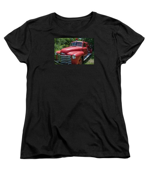 Women's T-Shirt (Standard Cut) featuring the photograph Old Chevy Fire Engine by Susan  McMenamin