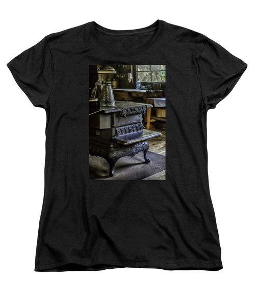 Old Farm Kitchen And Wood Burning Stove Women's T-Shirt (Standard Cut) by Lynn Palmer