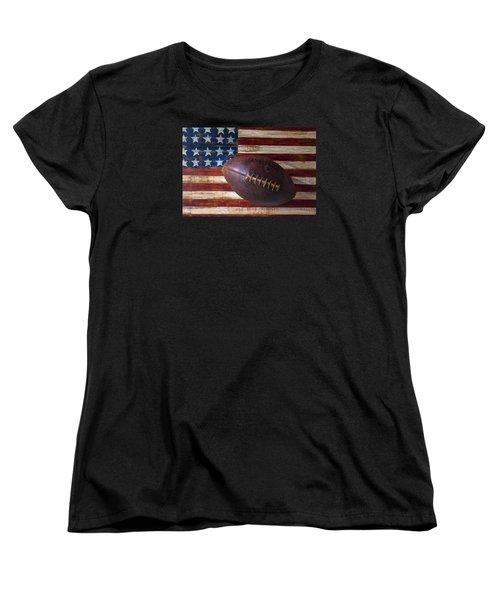 Old Football On American Flag Women's T-Shirt (Standard Cut) by Garry Gay