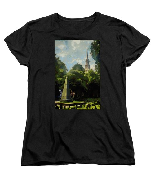 Women's T-Shirt (Standard Cut) featuring the painting Old Granery Burying Ground by Jeff Kolker