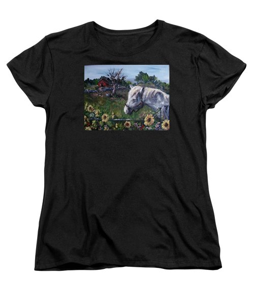 Women's T-Shirt (Standard Cut) featuring the painting Old Grey Mare by Megan Walsh