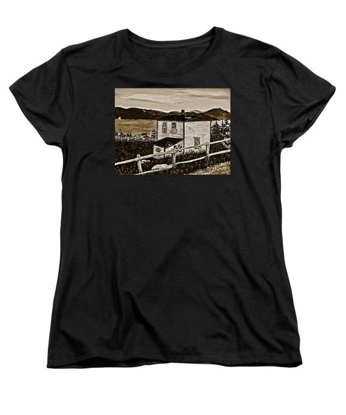 Old House In Sepia Women's T-Shirt (Standard Cut) by Barbara Griffin