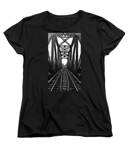 Old Huron River Rxr Bridge Black And White  Women's T-Shirt (Standard Cut) by Daniel Thompson