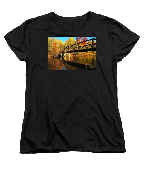 Women's T-Shirt (Standard Cut) featuring the photograph Historic Harvey Bridge Over Manistee River In Wexford County Michigan by Terri Gostola