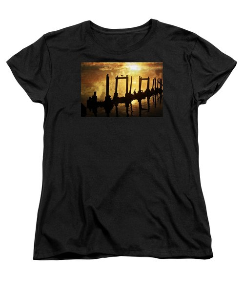Women's T-Shirt (Standard Cut) featuring the photograph Old Pier At Sunset by Marty Koch
