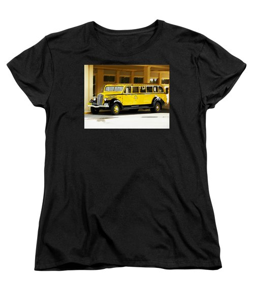 Women's T-Shirt (Standard Cut) featuring the photograph Old Time Yellowstone Bus by David Lawson