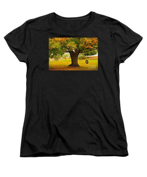 Women's T-Shirt (Standard Cut) featuring the photograph Old Tire Swing by Terri Gostola