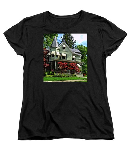 Women's T-Shirt (Standard Cut) featuring the photograph Old Victorian With Awnings by Becky Lupe