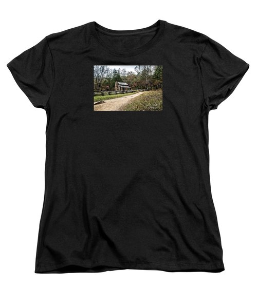 Women's T-Shirt (Standard Cut) featuring the photograph Oliver's Log Cabin by Debbie Green