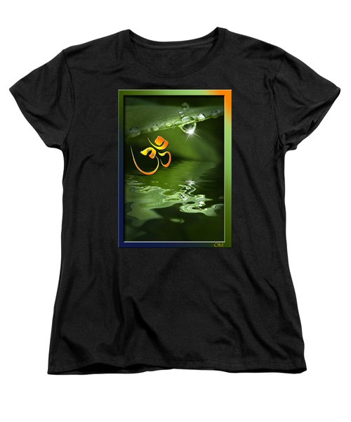 Women's T-Shirt (Standard Cut) featuring the mixed media Om On Green With Dew Drop by Peter v Quenter