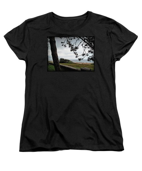 Omaha Beach Under Trees Women's T-Shirt (Standard Cut) by Joan  Minchak
