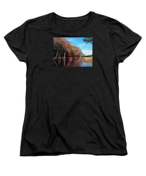 Women's T-Shirt (Standard Cut) featuring the photograph On Schoolhouse Pond Brook by Joy Nichols