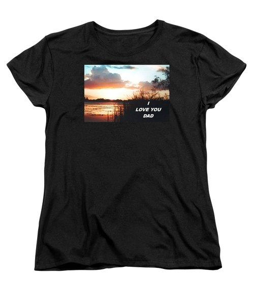 Lake Deer At Sunrise Women's T-Shirt (Standard Cut) by Belinda Lee