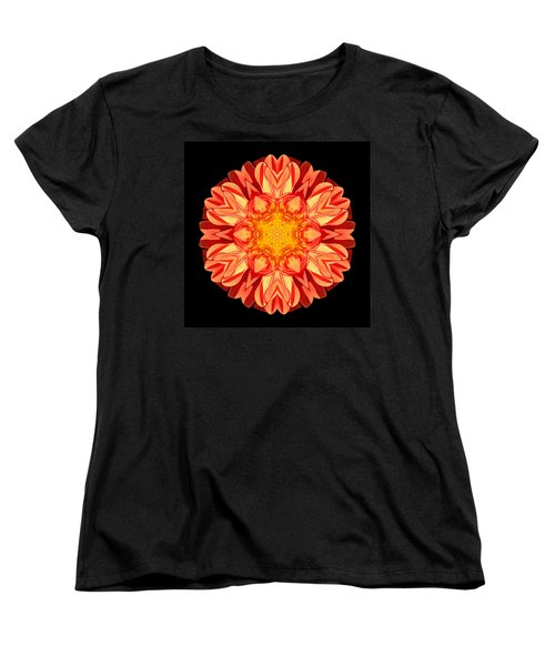 Orange Dahlia Flower Mandala Women's T-Shirt (Standard Cut) by David J Bookbinder