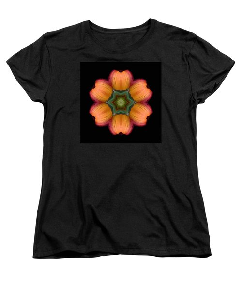 Orange Daylily Flower Mandala Women's T-Shirt (Standard Cut) by David J Bookbinder