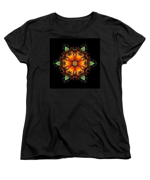Orange Gazania IIi Flower Mandala Women's T-Shirt (Standard Cut) by David J Bookbinder