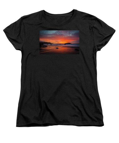 Orange Glow Women's T-Shirt (Standard Cut) by Linda Villers