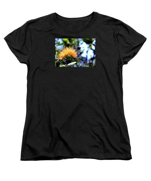 Women's T-Shirt (Standard Cut) featuring the photograph Orange Lehua On Volcano Ranch by Lehua Pekelo-Stearns