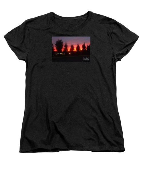 Orange Sunset Women's T-Shirt (Standard Cut) by Christina Verdgeline