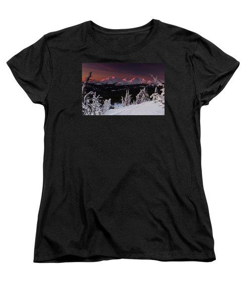 Women's T-Shirt (Standard Cut) featuring the photograph Oregon Cascades Winter Sunset by Kevin Desrosiers
