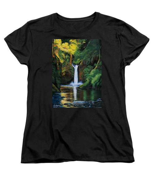 Women's T-Shirt (Standard Cut) featuring the painting Oregon's Punchbowl Waterfalls by Sharon Duguay