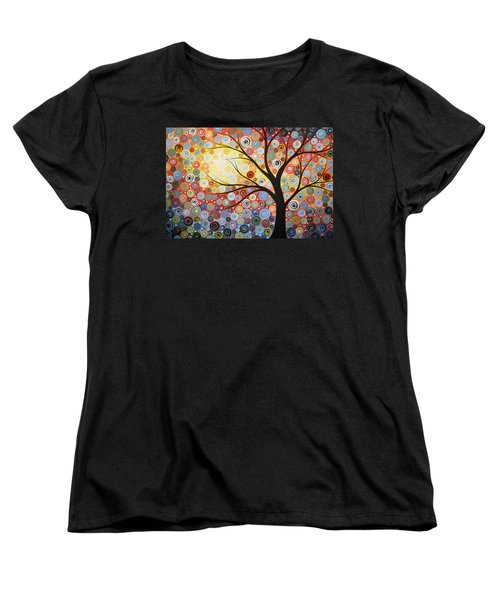 Women's T-Shirt (Standard Cut) featuring the painting Original Painting Print Titled Celestial Sunset by Amy Giacomelli