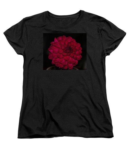 Ornate Red Dahlia Women's T-Shirt (Standard Cut) by Jeanette C Landstrom