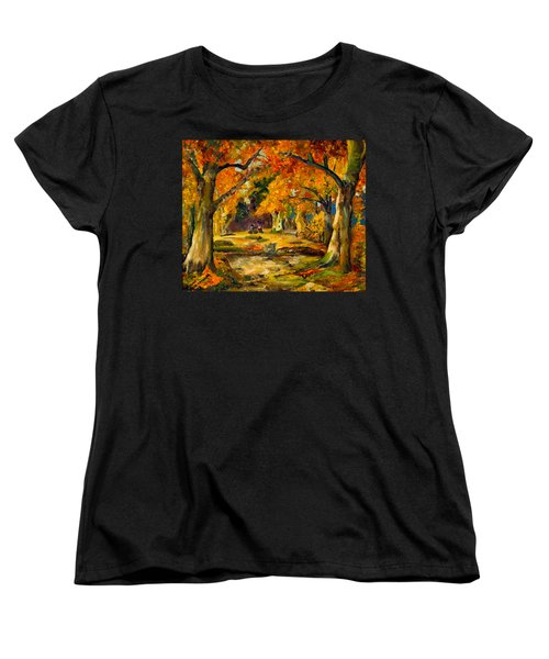 Women's T-Shirt (Standard Cut) featuring the painting Our Place In The Woods by Mary Ellen Anderson