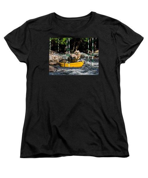 Owlets In A Canoe Women's T-Shirt (Standard Cut) by Les Palenik