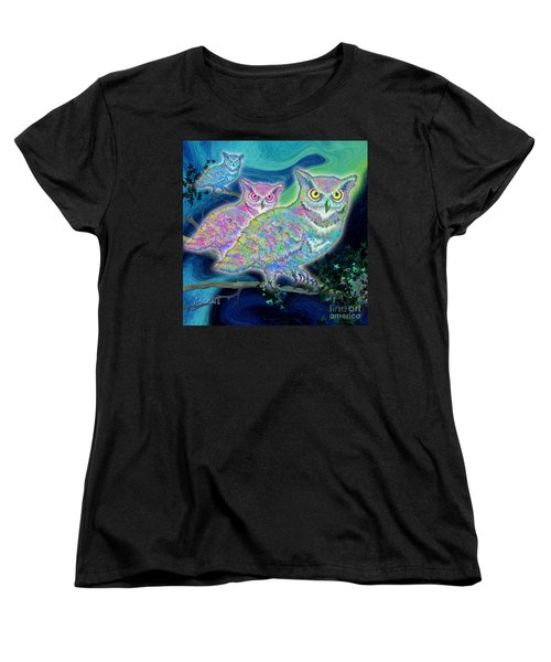 Women's T-Shirt (Standard Cut) featuring the painting Owls At Midnight  Square by Teresa Ascone