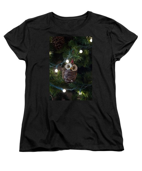 Women's T-Shirt (Standard Cut) featuring the photograph Owly Christmas by Patricia Babbitt