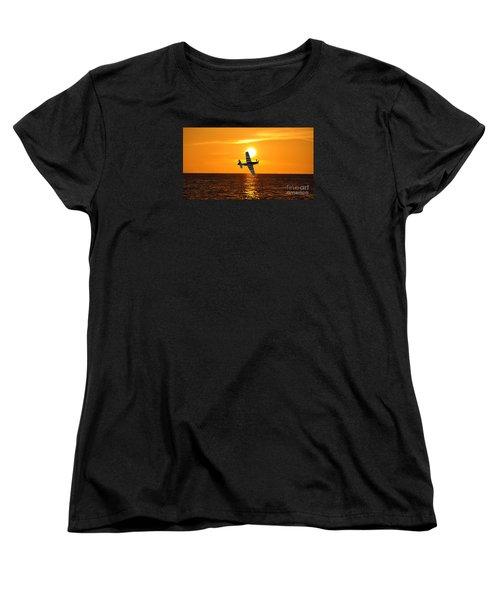 P-51 Sunset Women's T-Shirt (Standard Cut) by John Black
