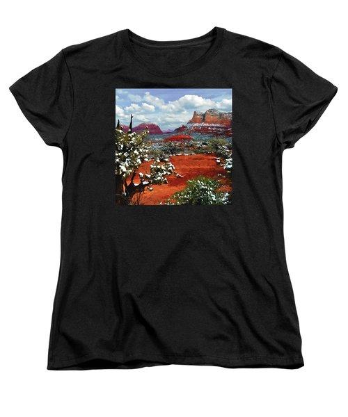 Painting Secret Mountain Wilderness Sedona Arizona Women's T-Shirt (Standard Cut) by Bob and Nadine Johnston