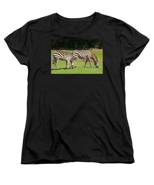 Women's T-Shirt (Standard Cut) featuring the photograph Pair Of Zebras by Charles Beeler
