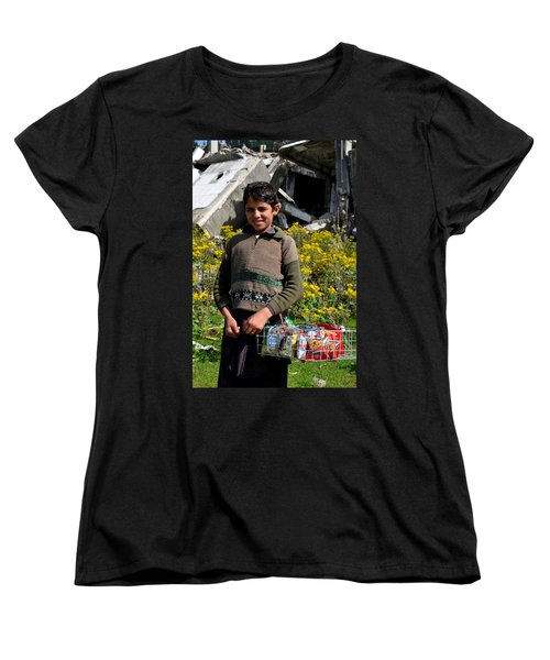 Women's T-Shirt (Standard Cut) featuring the photograph Pakistani Boy In Front Of Hotel Ruins In Swat Valley by Imran Ahmed
