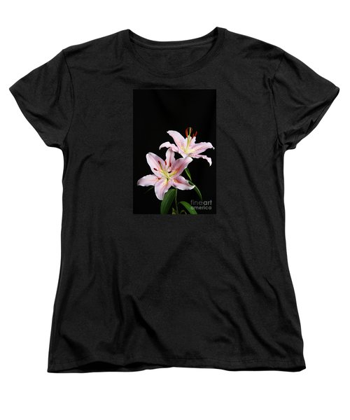 Pale Pink Asiatic Lilies Women's T-Shirt (Standard Cut) by Judy Whitton