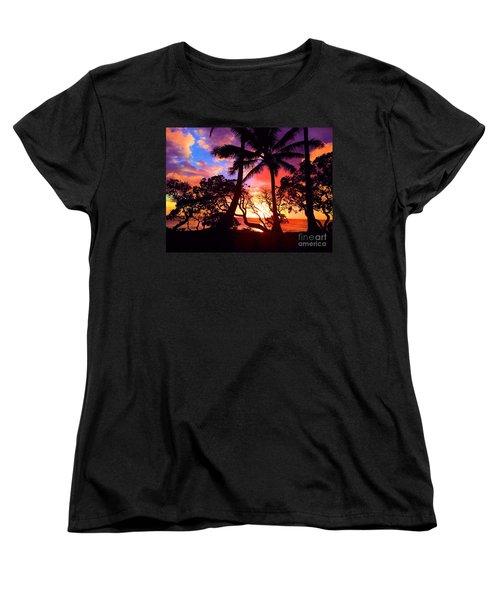 Women's T-Shirt (Standard Cut) featuring the photograph Palm Tree Silhouette by Kristine Merc