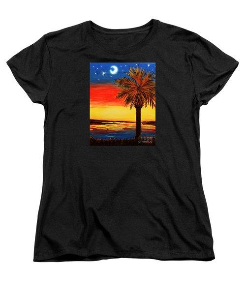 Palmetto Moon And Stars Women's T-Shirt (Standard Cut) by Patricia L Davidson