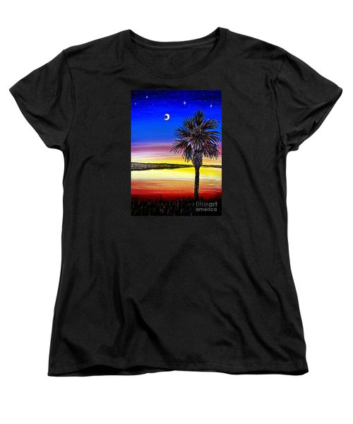Palmetto Sunset Moon And Stars Women's T-Shirt (Standard Cut) by Patricia L Davidson